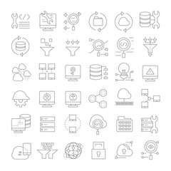 network and cloud computing icons, outline icons