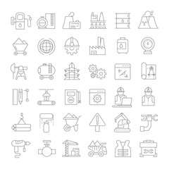 oil and gas icons, outline icons
