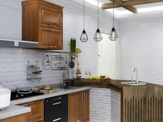 European retro kitchen design