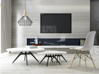 Modern minimalist black and white living room