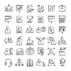 office and business icons, hand drawn icons