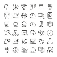 network and cloud computing icons, hand drawn icons