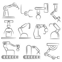 hand drawn industry robots