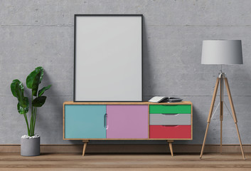 Interior living Room with sideboard, plants, mockup blank poster. 3d render
