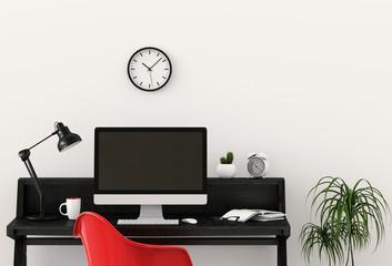 interior room design for working area with desktop computer. 3d render