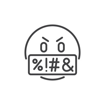 Swear face expression emoji outline icon. linear style sign for mobile concept and web design. Swearing emoticon simple line vector icon. Symbol, logo illustration. Pixel perfect vector graphics
