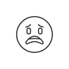 Sad emoticon outline icon. linear style sign for mobile concept and web design. Surprised face emoji simple line vector icon. Symbol, logo illustration. Pixel perfect vector graphics