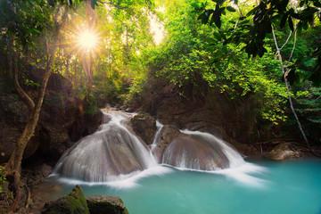 Fototapete - Erawan Waterfall in Thailand is locate in Kanchanaburi Provience. This waterfall is in Erawan national park