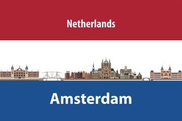 Fototapete - Vector illustration of Amsterdam city skyline with flag of Netherlands on background