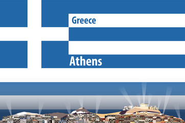 Vector illustration of Athens city skyline with flag of Greece on background