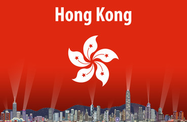 Vector illustration of Hong Kong city skyline with flag of Hong Kong on background