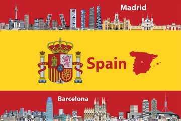 Vector illustration of Madrid and Barcelona cities skylines with flag  and map of Spain on background