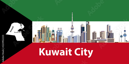 Vector illustration of Kuwait city skyline with flag and map of