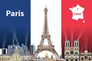 Fototapete - Vector illustration of Paris city skyline with flag of France on background