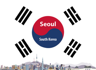 Vector illustration of Seoul city skyline with flag of South Korea on background