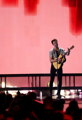 Shawn Mendes performs during the iHeartRadio Music Festival at T-Mobile Arena in Las Vegas