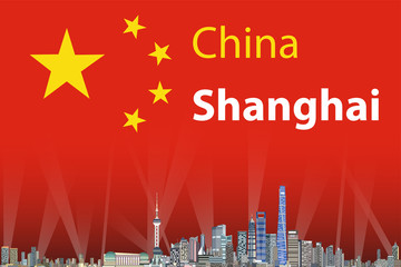 Vector illustration of Shanghai city skyline with flag of China on background