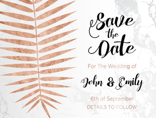 Rose Gold Marble Palm Invitation Design