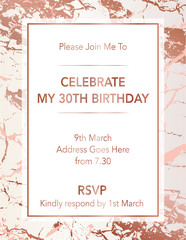 Modern Rose Gold Marble Invitation Design
