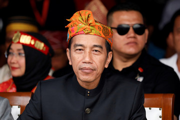 Indonesian President Joko Widodo attends a ceremony marking the start of the campaigning period for next year's election in Jakarta