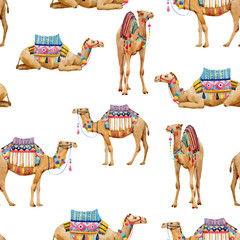 Watercolor camel vector pattern