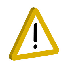 3D sign of the notifications, yellow triangle and an exclamation point vector symbol important notices