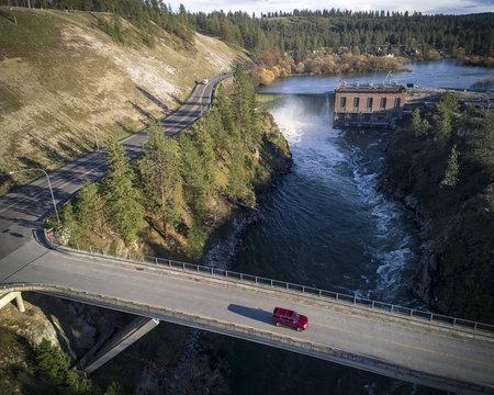 9 Mile Falls Spokane Bridge Aerial