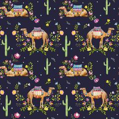 Watercolor camel vector pattern