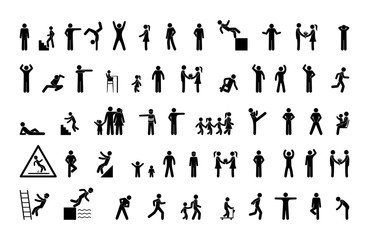 set of man icons, various poses and movements, silhouette figure stick, human pictogram, people symbol