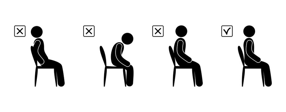Illustration of a man sitting correctly and incorrect posture, back position