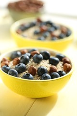 oatmeal porridge with blueberries and hazelnuts. Muesli with berries and nuts. granola and blueberries in a yellow  bowl on a yellow wooden plank background.Useful breakfast.Healthy Eating