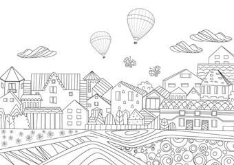 Pretty cityscape for your coloring book