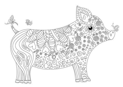 funny pig with flying butterflies for your coloring book