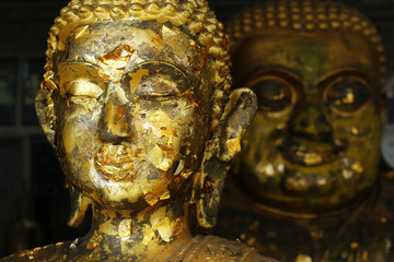 head of statue of buddha with leaves of gold