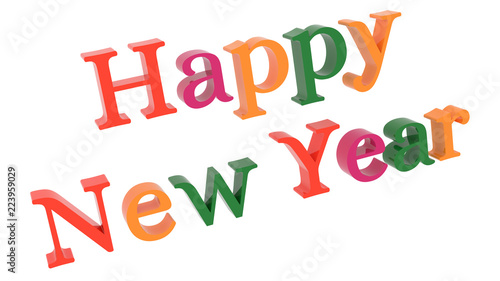 Happy New Year Words 3D Rendered Congratulation Text With Fairy Font ...