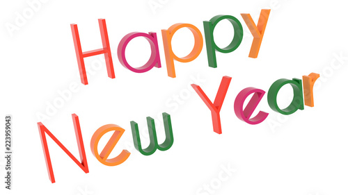 Happy New Year Words 3D Rendered Congratulation Text With Thin Font ...