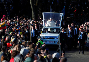 Pope Francis arrives to celebrate a Holy Mass in Kaunas