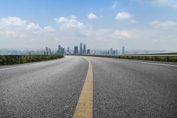 Road pavement and Chongqing urban architecture skyline