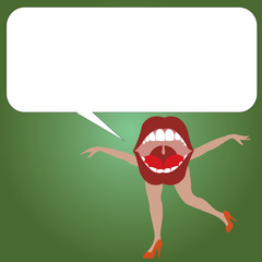 Flat design business Vector Illustration concept copy text for esp Web banners promotional material mock up template. Open Mouth with arms and legs Singing Dancing Blank white Speech Bubble