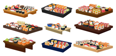 Flat vector collection of plates with sushi rolls. Traditional Asian food. Japanese cuisine