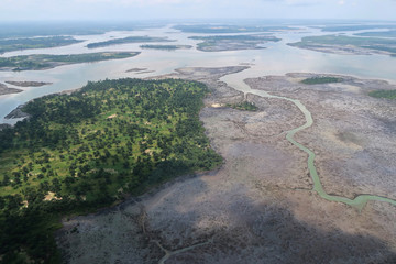 An overview of the Niger delta where signs of oil spills can be seen in the water in Port Harcourt
