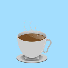 Flat design business Vector Illustration concept Empty template copy space Posters coupons promotional material. Levitating Cup of Hot Steaming Drink with Saucer Zero Gravity Dishware