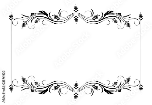Decorative vintage frame with floral ornament in retro style ...
