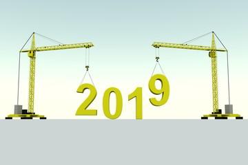 2019 building concept crane white background 3d illustration