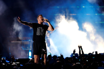 Imagine Dragons lead vocalist Dan Reynolds performs during the iHeartRadio Music Festival at T-Mobile Arena in Las Vegas
