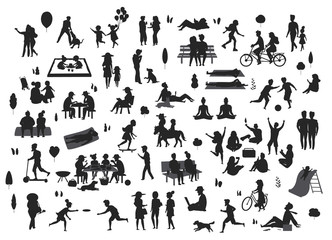 silhouettes of people in the park scenes set , men women children play, relax, dance, eat, talk ride bikes read