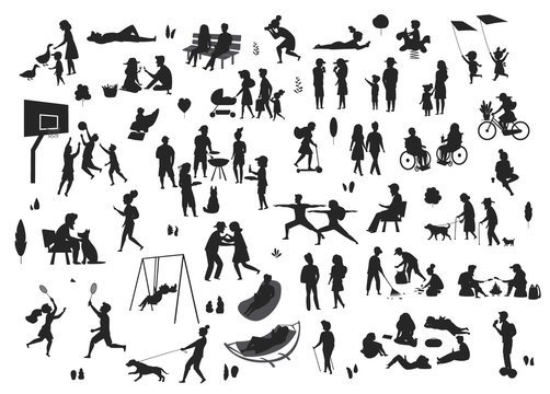 people in the park scenes silhouettes set