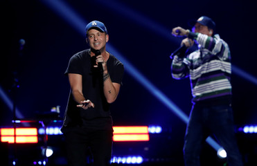 Ryan Tedder performs with Logic during the iHeartRadio Music Festival at T-Mobile Arena in Las Vegas