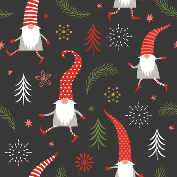 Christmas Seamless Pattern, Seasons greetings , cute Christmas gnomes in red hats