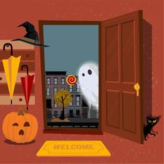 House interior, decorated for Halloween, pumpkin with mug in hallway under hanger with umbrellas, black cat hides behind door. Door is open and Ghost looks inside street. Flat cartoon illustration.
